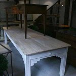 sold41 20c French farmhouse table with pine top on painted elm base