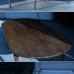 sold60 early 19c oval French farm table fruitwood
