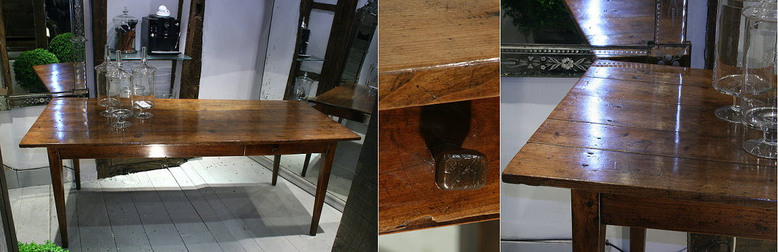 19c French fruitwood farmhouse table - lantiques